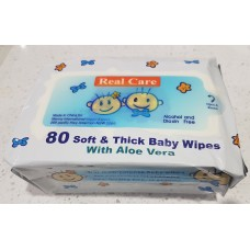 Real Care Baby Wipes with Aloe Vera 80 pack